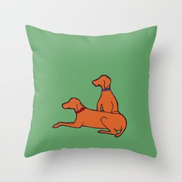 Vizslas on Green Throw Pillow