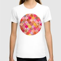 bedding T-shirts featuring Hot Pink, Gold, Tangerine & Taupe Decorative Moroccan Tile Pattern by micklyn