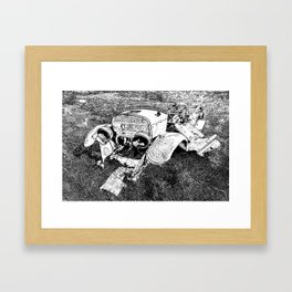 1928 Model A Ford Rusty Remnants Stamp Black And White Framed Art Print
