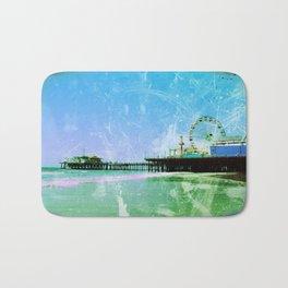Blue and green Santa Monica Pier Bath Mat