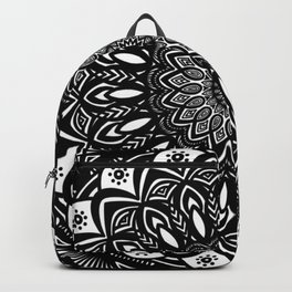 Bold Mandala Black and White Simple Minimal Minimalistic Backpack