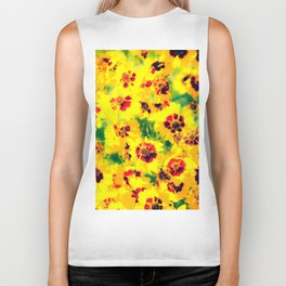 blooming yellow flower with green leaf background Biker Tank