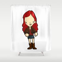 amy hamilton Shower Curtains featuring AMY by Space Bat designs