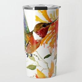 Hummingbird and Orange Floral Design, tropical Hawaiian Colors Travel Mug