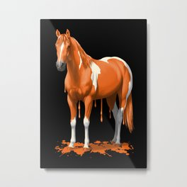 Neon Orange Dripping Wet Paint Horse Metal Print