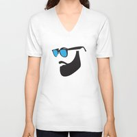 beard V-neck T-shirts featuring Beard by Paco Dozier