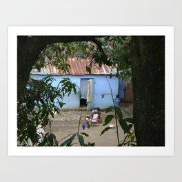Village Life in Haiti Art Print