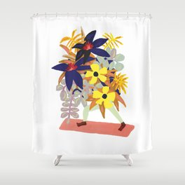 Floral Yoga Babe Shower Curtain