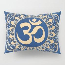 Blue and Gold Ohm Mandala Pillow Sham