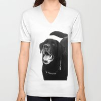 labrador V-neck T-shirts featuring Labrador Happy by Jennifer Warmuth Art And Design