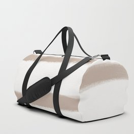 Medium Brush Strokes Horizontal  Nude on Off White Duffle Bag