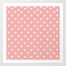 Dainty pink Cats Pattern Art Print