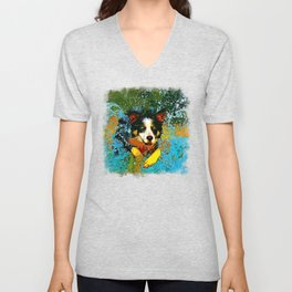 border collie jumping in water vector art Unisex V-Neck