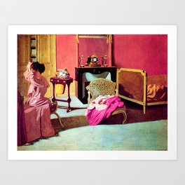 Felix Vallotton -  Woman being capped (new color editing) Art Print
