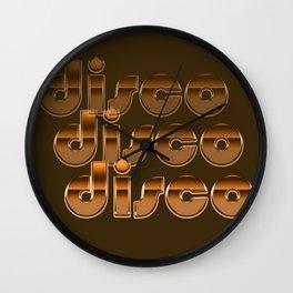 Metallic Seventies Disco Emblem Wall Clock