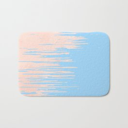 Carefree - Sweet Peach Coral Pink on Blue Raspberry Bath Mat