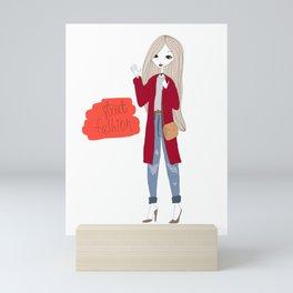 Street style girl Mini Art Print
