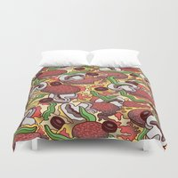 pizza Duvet Covers featuring Pizza by Raewyn Haughton