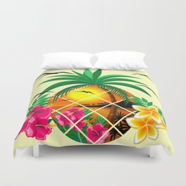 Pineapple Tropical Sunset, Palm Tree and Flowers Duvet Cover