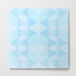 Abstract geometric design blue shades pattern Metal Print