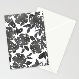 Grey Inky Watercolor Flowers Stationery Cards