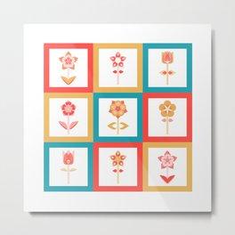 Patchwork Flowers Metal Print