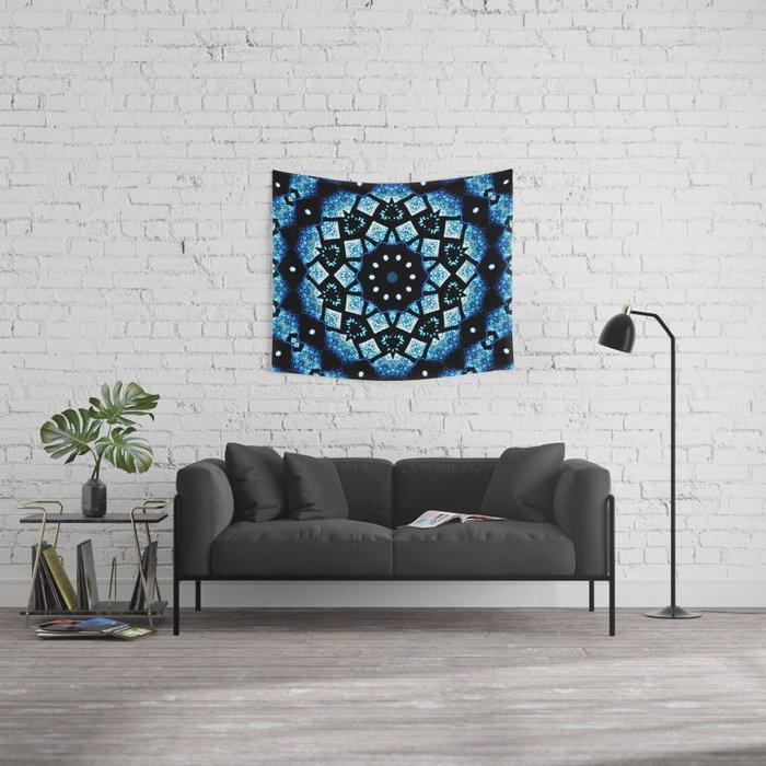 Blue Black Mosaic Kaleidoscope Mandala Wall Tapestry
