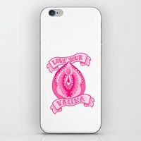 vagina iPhone & iPod Skins featuring Love your vagina! by Kittymacdraws