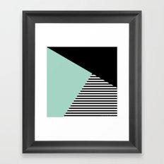 Mint Color Block with Stripes // www.penncilmeinstationery.com Framed Art Print