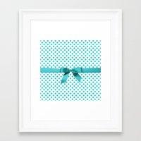 polkadot Framed Art Prints featuring Blue Tiffany Polkadot by albert Junior