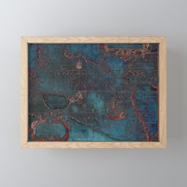 Antique Map Teal Blue and Copper Framed Mini Art Print