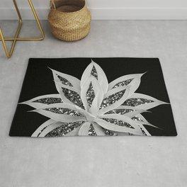 Gray Agave with Black Silver Glitter #2 #shiny #tropical #decor #art #society6 Rug
