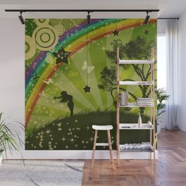 Green lands and rainbow Wall Mural