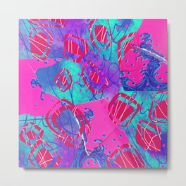 Neon pink, purple, and blue digital abstract collage design Metal Print