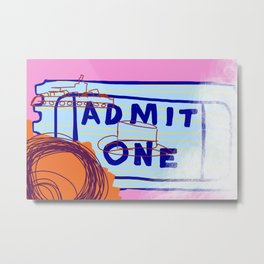 admit one to the top hat and battleship Metal Print