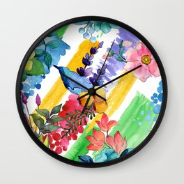 Watercolor Modern Floral Pattern In Blues, Lilacs, & Red Wall Clock
