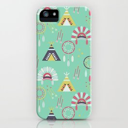 Indian Pattern Mint iPhone Case