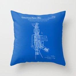 AR-15 Semi-Automatic Rifle Patent -Blueprint Throw Pillow