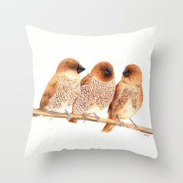 Scaly-breasted Munia Throw Pillow