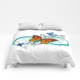 Infinity with an Orange Butterfly Comforters