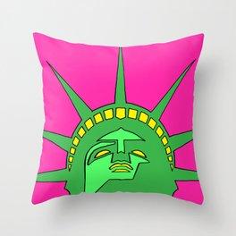 statue of liberty poster, statue of liberty pop art, graphic art, graphic minimalist art, Throw Pillow