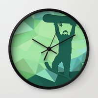 snowboard Wall Clocks featuring Snowboard by B Remembered Designs