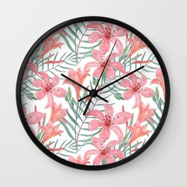 Pink lilies. Wall Clock