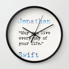 Jonathan Swift quote Wall Clock