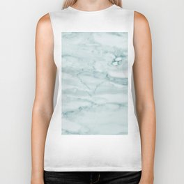 Marble Pale Teal Sea Green Marble Biker Tank