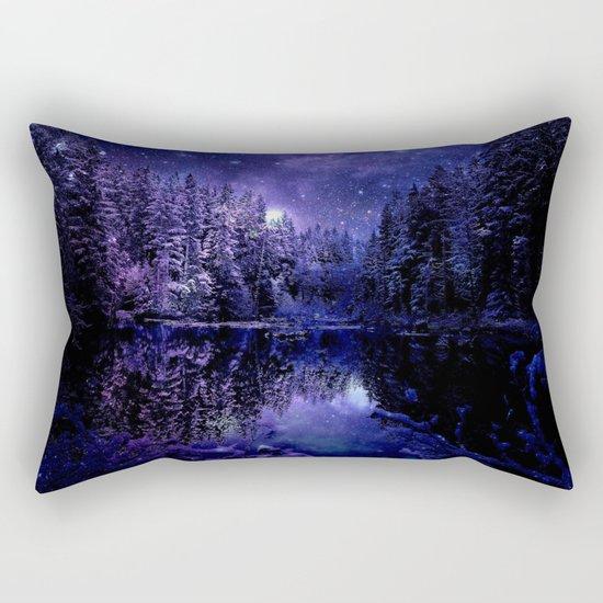 Winter Forest Deep Purple Blue Rectangular Pillow