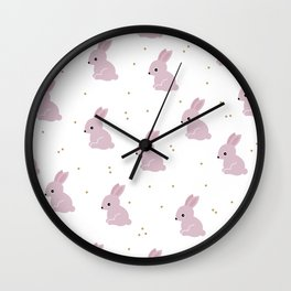 Sweet pink bunny love confetti party Wall Clock
