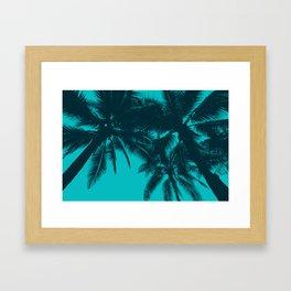 Blue palms in summer Framed Art Print
