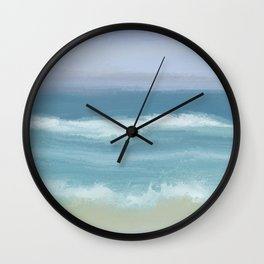 Seashore With Beautiful Breaking Waves Wall Clock
