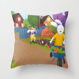 Bunny Thief Throw Pillow